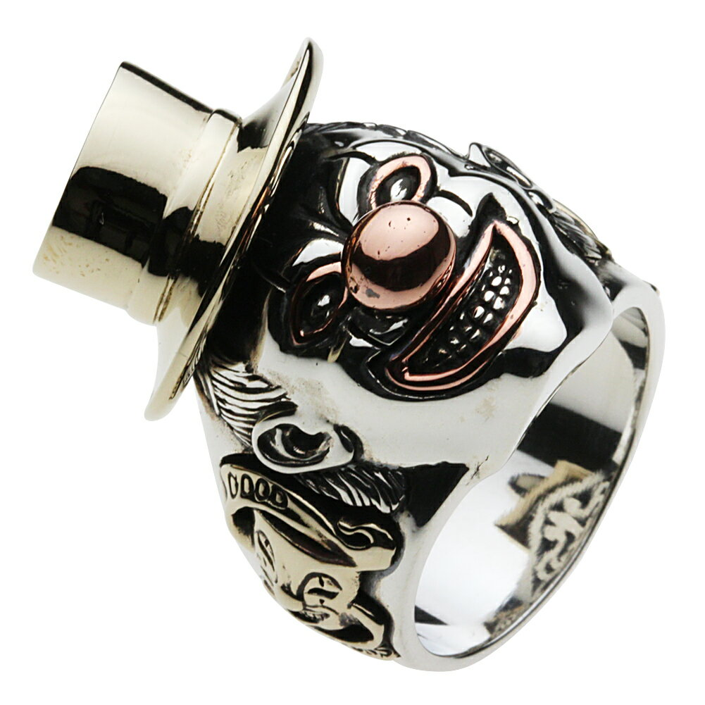 シルバーアクセサリー リング 指輪 銀 道化師 サーカス タトゥー ダーク ゴシック ファニー 喜劇 ジョーカー トランプ ハット ビッグ パンク 仮面 メンズ