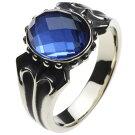 ホワイトメタルアクセサリーリング・指輪ブルーチェッカーリングr5013