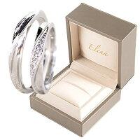 Elena(エレナ)ペアリング指輪フリーサイズシルバーレディースメンズCZダイヤ(キュービックジルコニア)専用BOX付き