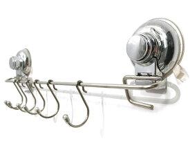 キッチンツールTSY キッチンツールフック 壁掛け 強力吸盤 穴あけ不要 フック 調理器具 収納 キッチン 浴室用 タオル掛け ステンレス シルバー フック6個付き 直送