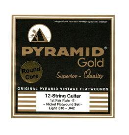 【即納可能!!】【メール便発送可!!】Pyramid Strings 《ピラミッド・ストリングス》 EG-Gold 12-strings .010-.042 chrome-nickel flatwounds on round core [商品番号:2441] エレキギター弦(12弦)