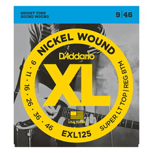 【メール便可!】D'Addario ダダリオ [EXL125] XL Nickel Round Wound Super Light Top/Regular Bottom 09-46 エレキギター弦 [Daddario]