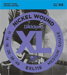 【メール便発送可!!】D'Addario ダダリオ [EXL115] XL Nickel Round Wound Blues/Jazz Rock 11-49 エレキギター弦 [Daddario]