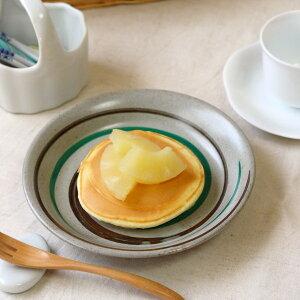 緑と茶色の渦巻きプレート ホットケーキが似合います 和食器 丸皿 スイーツ ロールケーキ レトロプレート 国産 美濃焼 訳あり