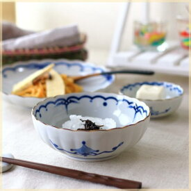 吉祥小紋 麻の葉 5.5寸鉢 浅鉢 肉じゃが鉢 煮物鉢 ボール サラダボウル レトロ感 和カフェ皿 和食器 国産 美濃焼 訳あり