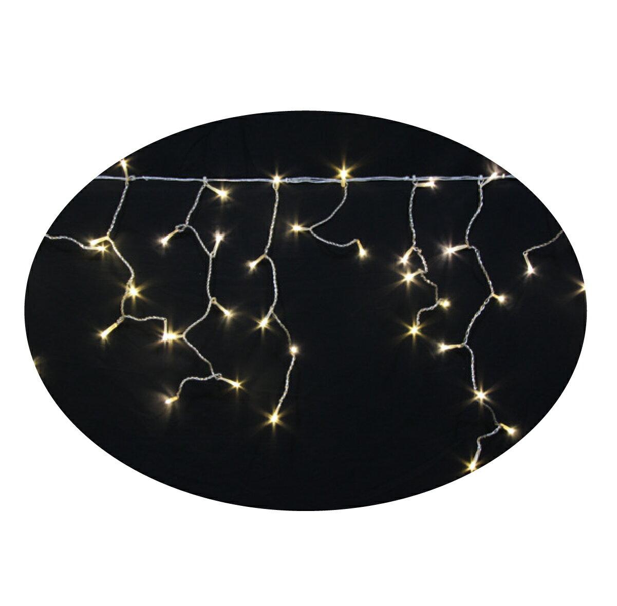 LEDイルミネーションツララ常時点灯V4 140球イエローゴールド高さ:24cm〜72cm幅:351cm