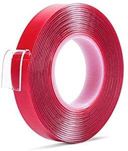 送料無料 強力 両面テープ 透明 ドアバイザー 強力両面テープ クリア 防水 水洗い可 DIY 10mm 1cm 3m 家具の固定 繰り返し使える はがせる粘着テープ