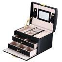 送料無料 アクセサリー ケース ジュエリーボックス ミラー付き 鏡 5カラー 大容量 引き出し 3段  ジュエリー収納 宝石箱