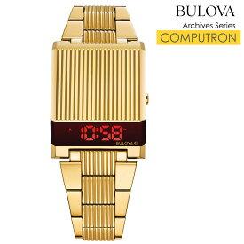 ブローバ 腕時計 BULOVA 時計 メンズ デジタル時計 LEDデジタルクオーツ アーカイブシリーズ コンピュートロン Archive Series Computron ゴールド 97C110