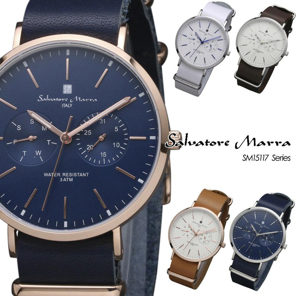 サルバトーレマーラ Salvatore Marra 腕時計 メンズ レザー アナログ時計 カレンダー SM15117