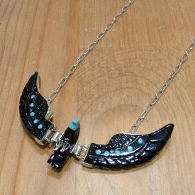 BEN LIVINGSTON Navajo Jet Eagle Necklace BIG