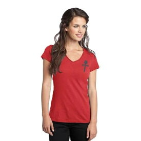 GONZO WOMEN'S GONZO LOGO LIGHTWEIGHT V-NECK FITTED RED TEE