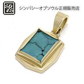 SYMPATHY OF SOUL Square Turquoise Pendant - K18Yellow Gold