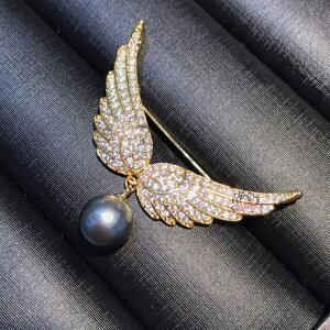 C-GIRLS真珠屋 冠婚葬祭 5A級 CZ キュービックジルコニア 真珠 大粒 10mm ブローチ 花珠級貝パール 天使の羽 ゴールド 母の日 七五三結婚式ウエディング ブラック 全品ギフトラッピング 送料無料
