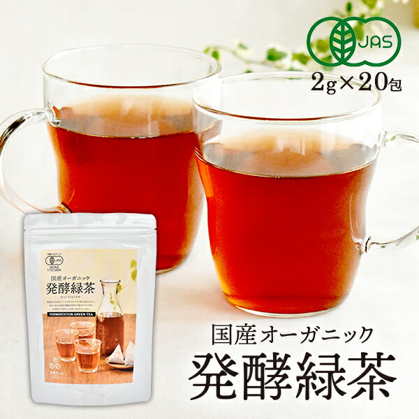 【お一人様3袋まで!!】国産オーガニック 発酵緑茶(2g×20包)【茶願寿カフェ/有機JASオーガニック/無農薬】