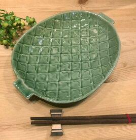 【パイン柄 26cm】セラドン陶器セラドン平皿 盛皿タイ製皿タイ料理タイ雑貨アジアン雑貨タイ食器