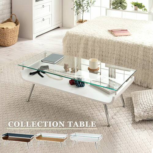 コレクションテーブル ディスプレイテーブル センターテーブル ガラス ローテーブル 木製 コーヒーテーブル テーブル てーぶる リビング 低め コンパクト ホワイト 白 ダークブラウン ナチュラル おしゃれ モダン 北欧 一人暮らし 棚付き