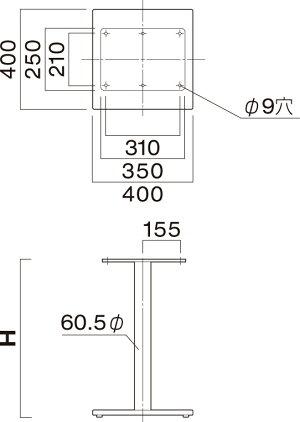 送料無料【カラー:SI:シルバー/BL:ブラック】プロ仕様テーブル脚(ES-SI400/ES-BL400脚)高さ520/570/620/638/670/688/700mmクレス(CRES)DIY