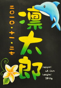 送料無料!誕生ボード(命名表)チョークアートで世界にひとつだけの贈り物・出産祝いにイルカ(三文字)