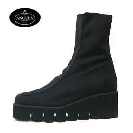 アンジェラ 靴 ストレッチ ショートブーツ ANGELA-019 ブラック/ブラウン キャタピラー ブーツ 厚底 イタリア製 定番品