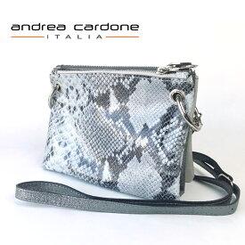 イタリア製 レディース バッグ andrea cardone ITALIA レザー 3bags ring ショルダーバッグ 3カラー 組み合わせ 自由自在 パイソン柄/ ダークグレーシルバー/ ライトグレー 本革 BAG アンドレア カルドーネ MADE IN ITALY GENUINE LEATHER