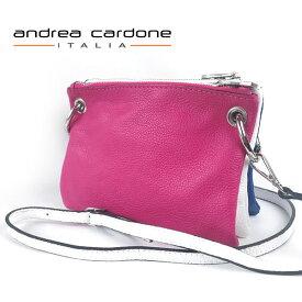 イタリア製 レディース バッグ andrea cardone ITALIA レザー 3bags ring ショルダーバッグ 3カラー 組み合わせ 自由自在 ピンク/ ホワイト/ ブルー 本革 BAG アンドレア カルドーネ MADE IN ITALY GENUINE LEATHER