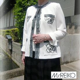 Ms.REIKO ミズレイコ ラメコード ローズ ジャケット 11号 薔薇 レリーフ 生成り ホワイト 【受注生産、納期約2ヶ月/代引き不可】