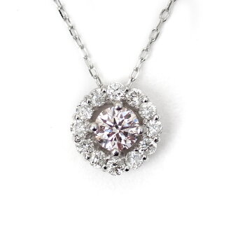 Pink diamond necklace K18WG white gold pendant natural Pink diamonds VERY LIGHT PINK 0.130 ct / VERY LIGHT PURPLISH PINK 0.124 ct
