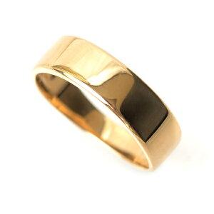 18金 リング 指輪 k18リング 18金ゴールドリング 幅広 約5.4mm幅 シンプルリング k18 ゴールド 平打ち デザイン リング 平打ち調デザイン 軽量タイプ 15号〜22号サイズ 中指用 人差し指 指輪 K18 記