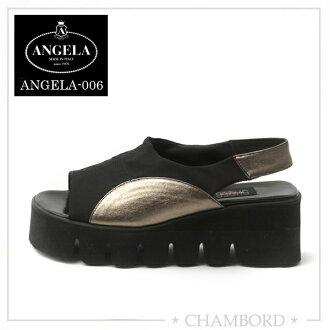 安杰拉ANGELA鞋厚底凉鞋黑色意大利制造ANGELA-006楔子鞋底凉鞋
