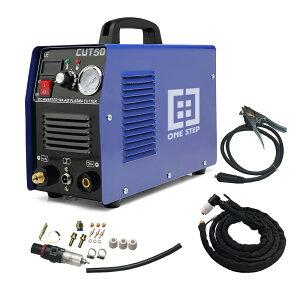 ONE STEP プラズマカッター、CUT50 プラズマカッター エアープラズマ切断機 インバーター デジタル切断機(100V/200V/110V/240V)対応 50/60HZ対応 切断機 LCD画面付き(ブルー) (CUT50)