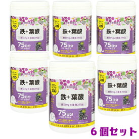 【6個セット】ユニマットリケン おやつにサプリZOO 鉄+葉酸 75日分 ブドウ風味