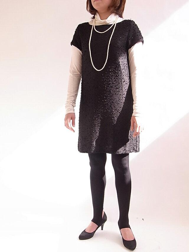 【タイムセール】スパンコールワンピース+タートル+の2点セット【SS-fashion20】【20P30May1】【SSMay15_point20】