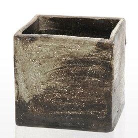 手作り山野草鉢 益子焼 彩(SAI) 角 粗目 白 鉢底穴あり 18×18×18cm 盆栽鉢 関東当日便
