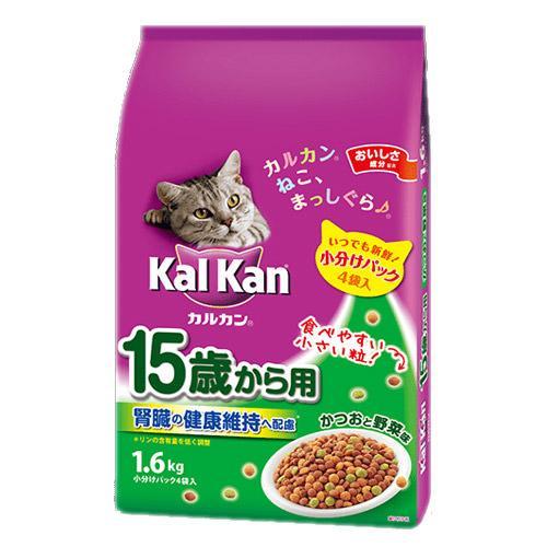 カルカン ドライ 15歳から用 かつおと野菜味 1.6kg(小分けパック4袋入) キャットフード カルカン 超高齢猫用 関東当日便