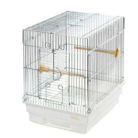 HOEI 21手のり 銀色メッキ(底色:ホワイト)(290×365×390) 鳥 ケージ 鳥かご 関東当日便