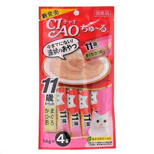 いなば CIAO(チャオ) ちゅ〜る 11歳からのまぐろ・かつお 14g×4本 猫 おやつ CIAO チャオ 超高齢猫用 ちゅーる 関東当日便