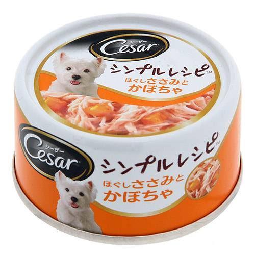シーザーシンプルレシピ ほぐしささみとかぼちゃ 80g ドッグフード シーザー 2缶入り 関東当日便