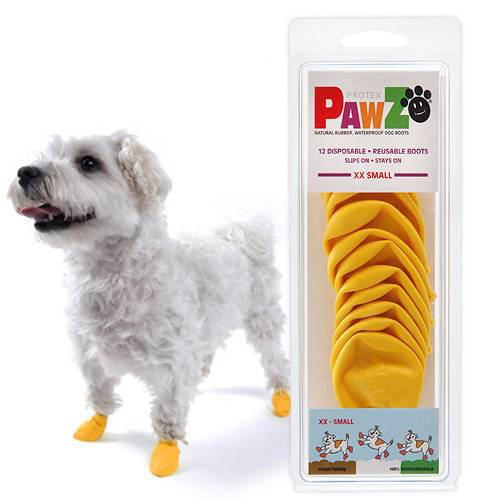 Pawz ラバードッグブーツ XXS イエロー 犬用 ゴム製使い捨てブーツ 靴 くつ 肉球保護 関東当日便