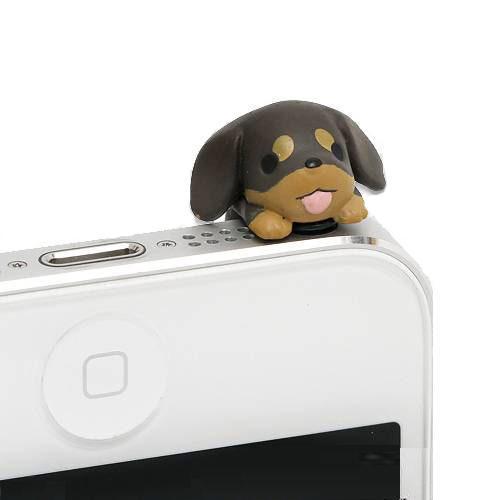 アウトレット品 わんこ イヤホンジャック ミニチュアダックス 携帯電話アクセサリー 関東当日便