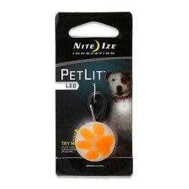 プラッツ NITE IZE ペットリットパウ オレンジ LED セーフティライト 犬 猫 夜間 散歩用 LEDライト お散歩ライト 関東当日便