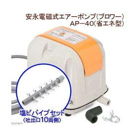 安永電磁式エアーポンプ(ブロワー) AP−40(省エネ型)+塩ビパイプ 一方コック付き 吐出口10 両側キャップ付き 沖縄別途送料 関東当日便