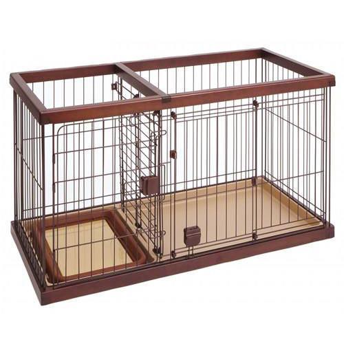 同梱不可・中型便手数料 ペティオ トイレのしつけが出来る ドッグルームサークル ブラウン スモール 犬 超小型犬 ケージ