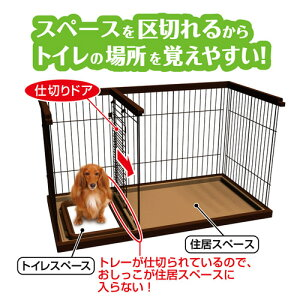 トイレのしつけが出来るドッグルームサークルブラウンレギュラー超小型犬小型犬ケージ関東当日便