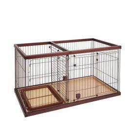 (大型)ペティオ トイレのしつけが出来る ドッグルームサークル ブラウン ワイド 小型犬 中型犬 ケージ 別途大型手数料・同梱不可