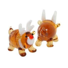グラスコレクション まんまるトナカイ 1個 クリスマス インテリア ガラス細工 関東当日便