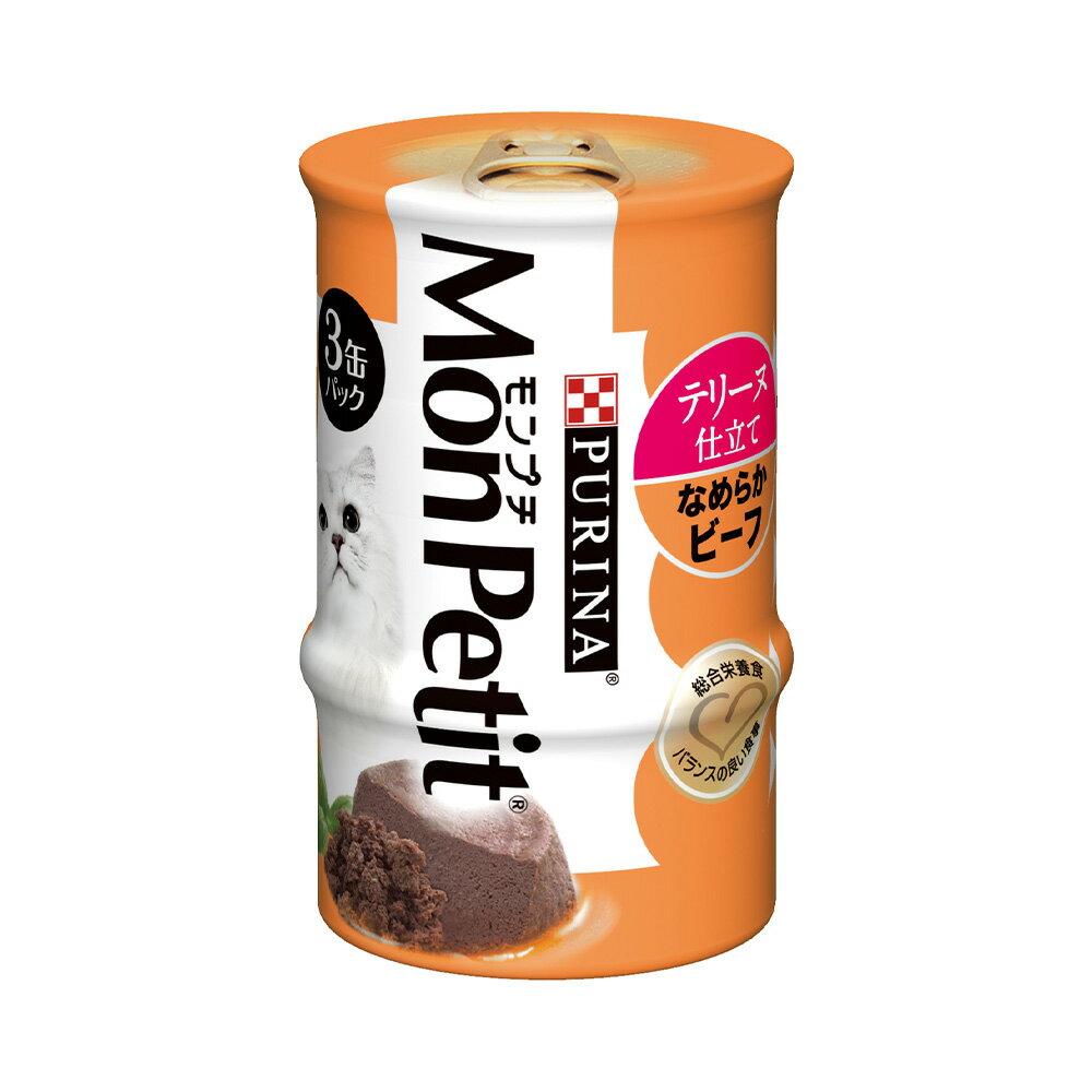 モンプチ セレクション 3P ビーフのテリーヌ仕立て 85g×3缶 猫フード 24個入 関東当日便
