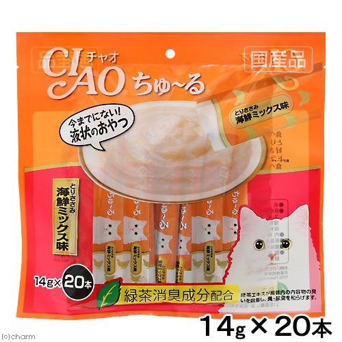 いなば CIAO(チャオ) ちゅ〜る とりささみ 海鮮ミックス味 14g×20本 国産 キャットフード おやつ ちゅーる 関東当日便