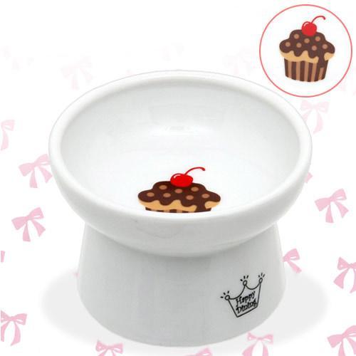 猫壱 脚付フードボウル カップケーキ 陶器食器 ハッピーダイニング 犬 猫 食器 関東当日便