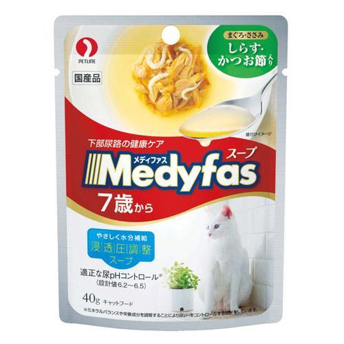 ボール売り メディファス スープパウチ 7歳から高齢猫用 しらす・かつお節入り 40g 1ボール12袋入 高齢猫用 関東当日便
